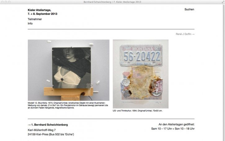 Screenshot Website Kieler Ateliertage 2013