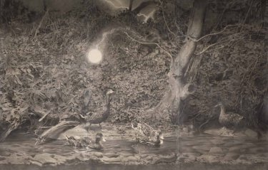 Ohne Titel, 2012, Kreide auf Papier, fixiert, 250 x 420 cm