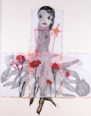 Red everlasting, 2008, Mixed Media on parchment paper layers, 247 x 205 cm
