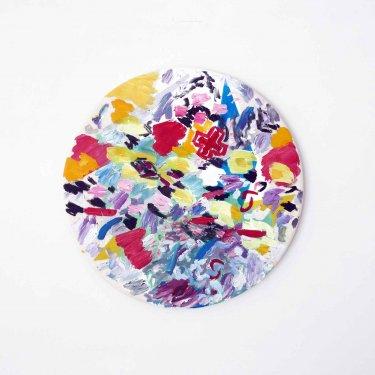Mittelalter - Musik,  2011, Öl und Druck auf Leinwand ø 52,5 cm, drehbar