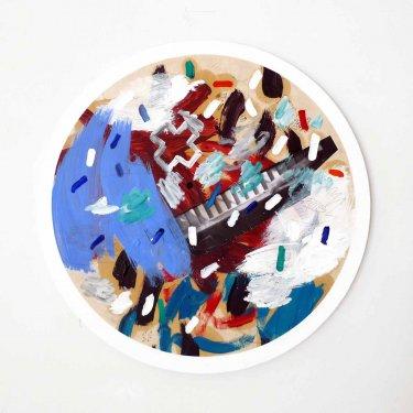 Die Resolution Verhindern, July 2011, Öl, Druck auf Papier, auf Leinwand und auf Holz ø 59,5 cm,  drehbar