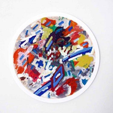 Tuer, 2011, Öl auf Papier, auf Leinwand und auf Holz ø 104 cm,  drehbar