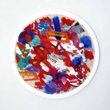 Das Minus, 2011, Öl auf Papier, auf leinwand und auf Holz ø 104 cm,  drehbar
