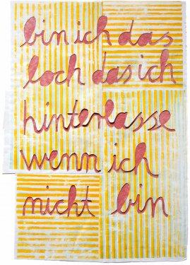 bin ich das loch das ich hinterlasse wenn ich nicht bin, 2010, Scherenschnitt, 75 x 52 cm