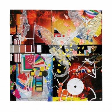 CLAIR, 2008, Collage, Pappe, Papier, Plastik, Kupfer, 60 x 60 cm