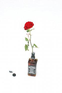 rose für direkten rock´n´roll, 2013, Multiple, Rose, Glas, Whiskey, Auflage 100, nummeriert & signiert, 7 x 7 x 50 cm