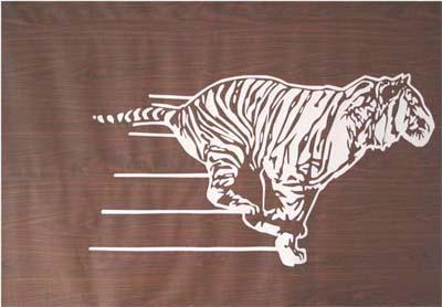 Katja Flieger, Mein Tiger, 2008, Holzimitatgewebe mit Beflockung,195 x 240 cm