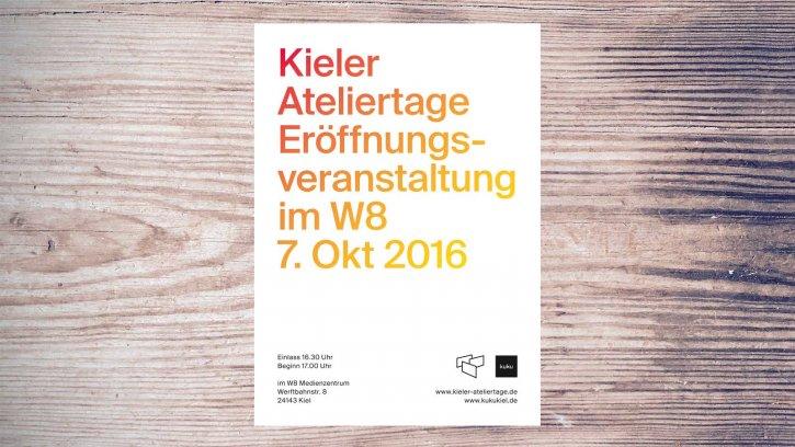 Kieler Ateliertage am 8. + 9. Okt 2016, Eröffnung am 7. Okt im W8